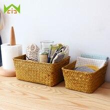 Hand-Woven Storage Basket Rattan Storage Box Tray Bread Fruit Food Breakfast Container Bathroom Storage Organizer Home Decor