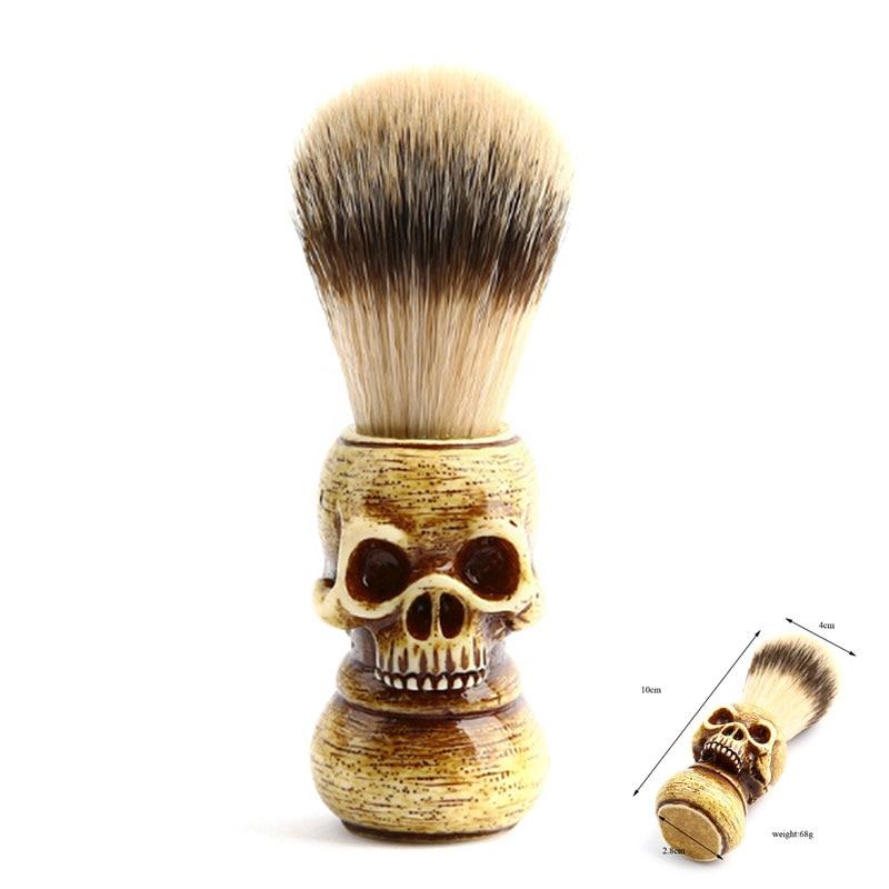 Barba facial limpo ferramenta de barbear escova com alça de madeira venda quente crânio texugo cabelo masculino escova de barbear barbeiro salão