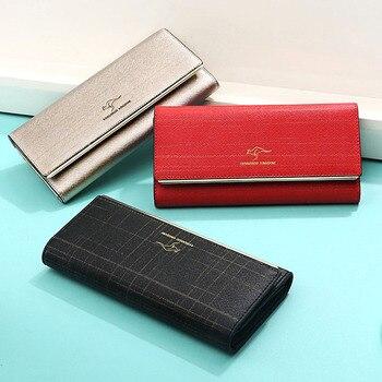 KANGAROO KINGDOM fashion women wallets split leather long female trifold wallet ID credit card holder purse