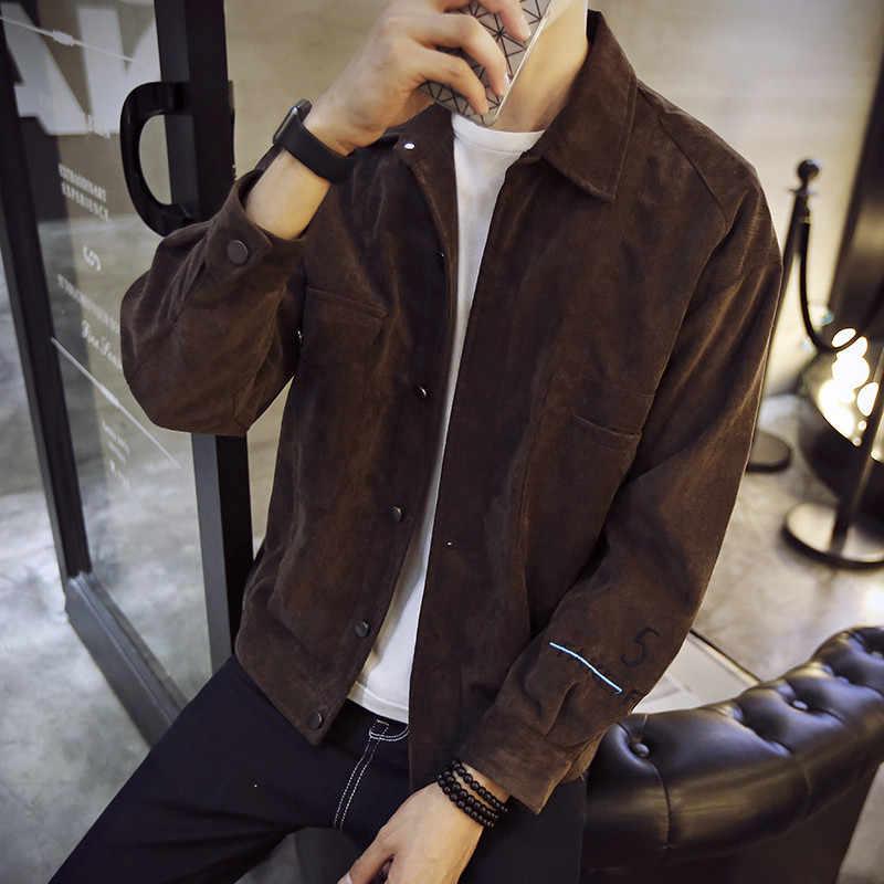 Corduroy cinza outono primavera jaqueta homem bomber jaqueta plus tamanho dos homens jaquetas e casacos bbers homme outwear masculino fy271 s