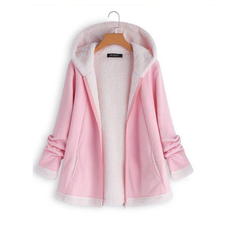 Plus Size Womens Pink Hoodies Pullover Winter Coat Hooded Sweatshirt Streetwear Woman Clothes Hoodies Korean Hoodie Furry Coat