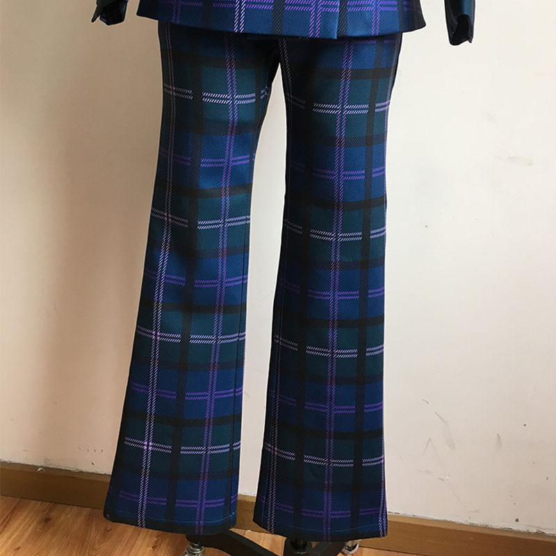 Womens Business Plaid Pant Suits Female Office Double Breasted Blazer Jacket & Pant 2 Piece Sets Spring Autumn Womens Outfits