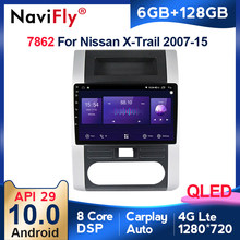 Navifly 8core API29 6 + 128G QLED Android10 Radio del coche para Nissan X-Trail 2 T31 XTrail 2007-2015 GPS Unidad de Apoyo 4G LTE DVR