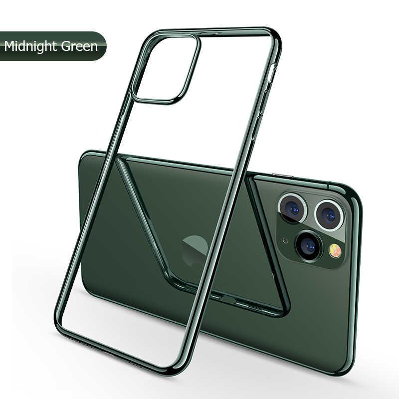 IPhone 11 durumda lazer kaplama lüks TPU yumuşak temizle kapak iPhone 11 Pro Max artı 2019 parlak kristal telefon kılıfı