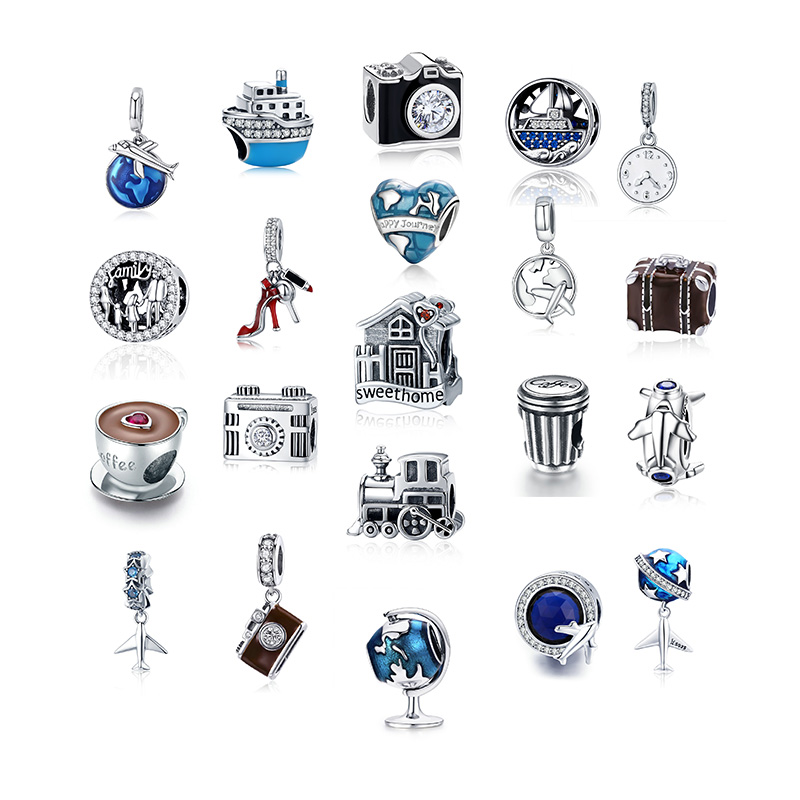 Hot Sale 100% Real 925 Sterling Silver Family House Camera Coffee Cup Shoes Charm Fit Original Pandora Bracelet DIY Jewelry(China)