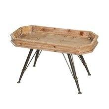 Derrape patas de hierro granja hecha a mano abeto madera mesa lateral bandeja Mesa vintage