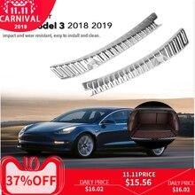 Acier inoxydable voiture arrière coffre coffre intérieur extérieur pare chocs protecteur garde seuil plaque couverture accessoires pour Tesla modèle 3 2018 2019