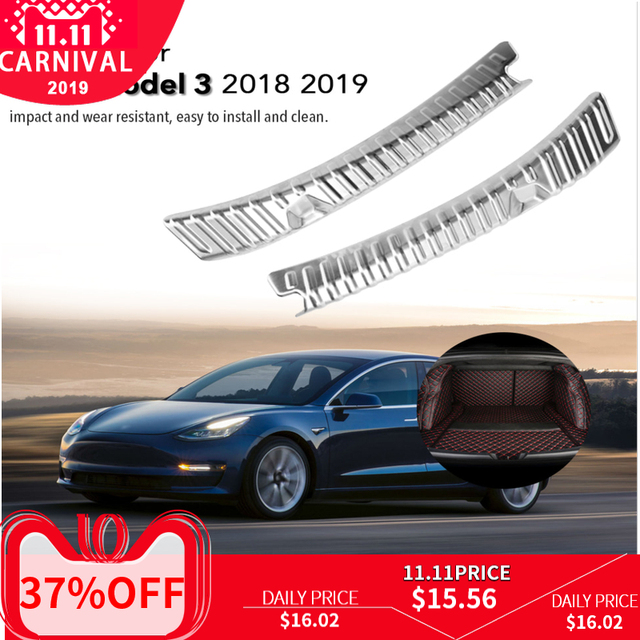 Rvs Auto Boot Kofferbak Inner Outer Bumper Protector Guard Sill Plate Cover Accessoires Voor Tesla Model 3 2018 2019