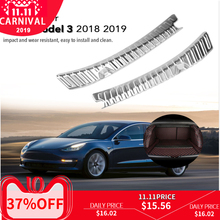 Stainless Steel car Rear Boot Trunk Inner Outer Bumper Protector Guard Sill Plate Cover Accessories for Tesla Model 3 2018 2019