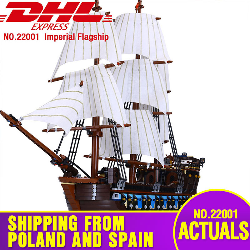 Lepining DHL 22001 Pirate Ship Warships Compatible With 10210 Building Block Bricks Toys Model 1717pcs Kids Christmas Gift Toys