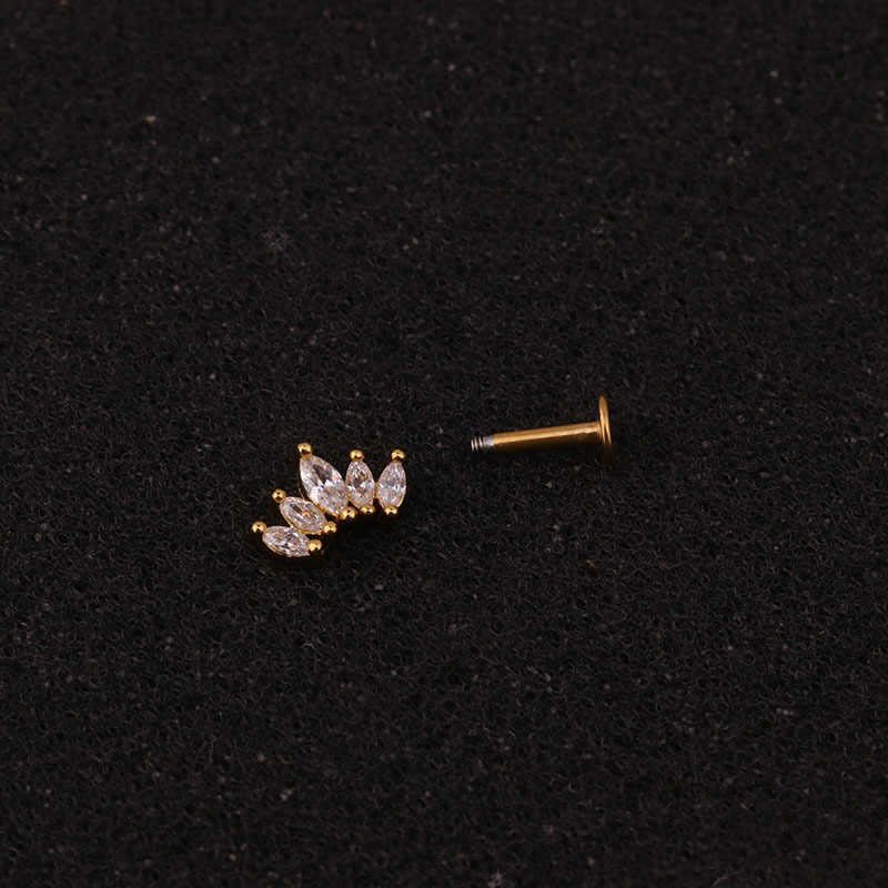 16G Crossหัวใจมงกุฎดอกไม้CzหูHelixเจาะกระดูกอ่อนต่างหูConch Rook Tragus Labretกลับเจาะเครื่องประดับ