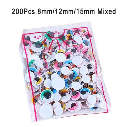 100 шт/200 шт Самоклеющиеся Googly бегающие глазки для поделок, скрапбукинга проекты детали для самостоятельной сборки кукол глаза игрушки ручной работы GYH - Цвет: 200 Colorful Mixed