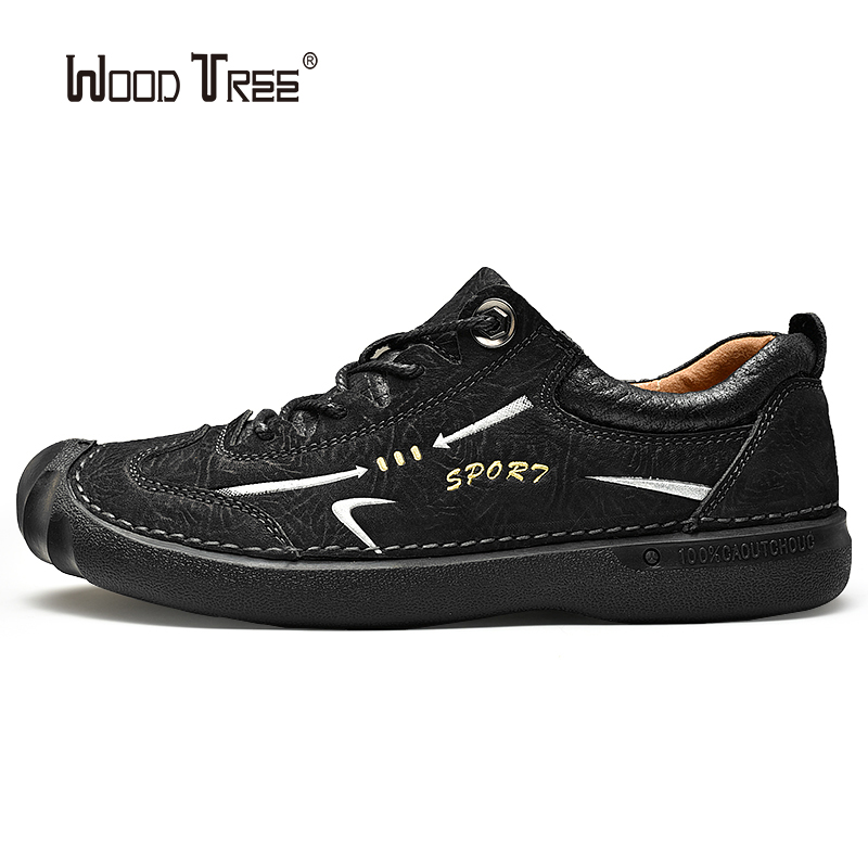 WOODTREE 2020 Classic Men Casual Shoes Men Loafers Split Leather Shoes Men Flats Handmade Lace-up Hot Sale Moccasins Shoes Big S