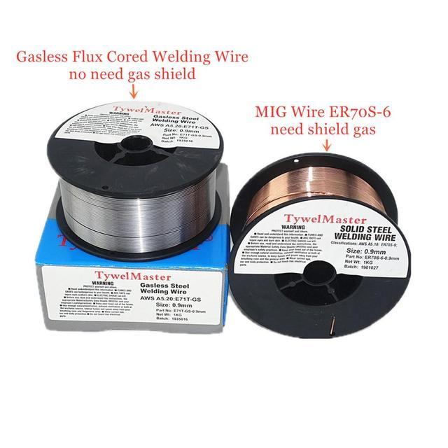 Drut spawalniczy MIG ER70S 6 bezgazowy drut pokryty topnikiem E71T GS 1kg 0.6/0.8/0.9mm osłona gazowa lub brak gazu materiał spawalniczy ze stali węglowej