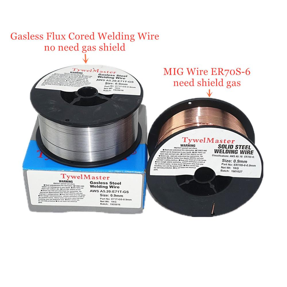 MIG Welding Wire ER70S-6 Gasless Flux Cored Wire E71T-GS 1kg 0.6/0.8/0.9mm Gas Shield Or No Gas Carbon Steel Welding Material
