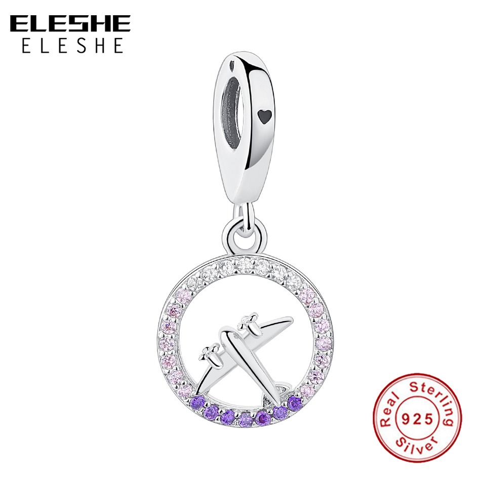 Authentic 925 Sterling Silver Charm Bead Clear CZ Travel Airplane Charm Fit Original Bracelet Pendant DIY Jewelry Making