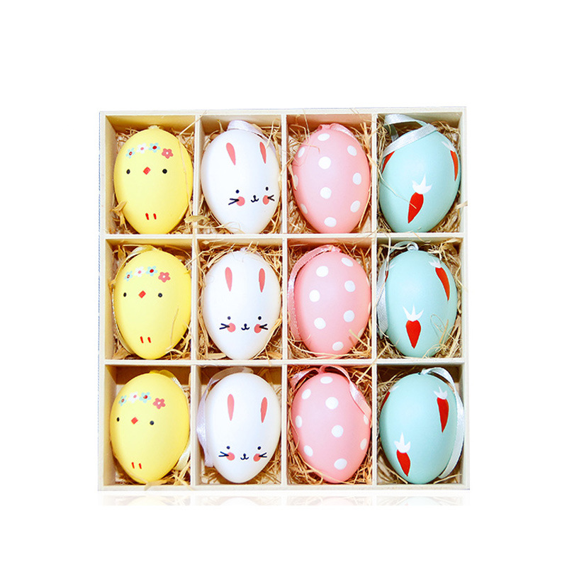 12Pcs/Set Colorful Foam Easter Eggs Gadget Birthday Holiday Decoration Wedding Party Decoration Easter Crafts Ornaments