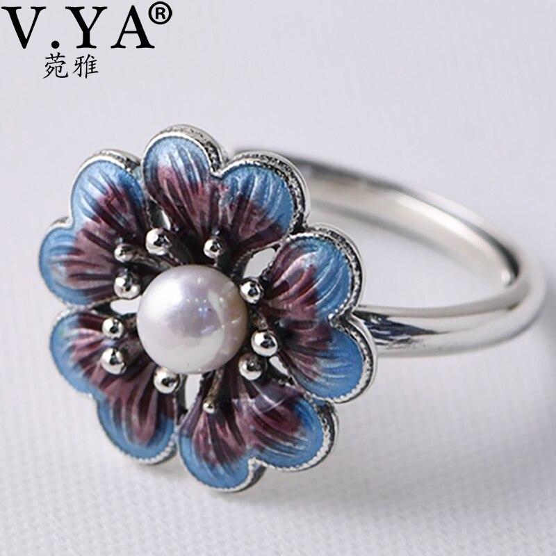 V.YA Lady Pearl Ring Freshwater Natural Pearl Rings 925 sterling silver Enameling Ring Women Wedding Birthday GiftEngagement Rings   -