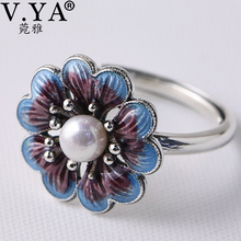 V.YA Lady Pearl Ring Freshwater Natural Pearl Rings 925 sterling silver Enameling Ring Women Wedding Birthday Gift