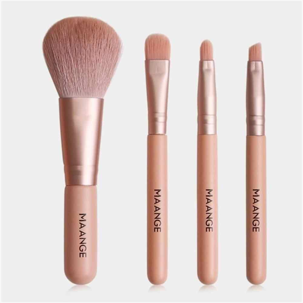 Terbaru 4 Pcs Mini Eye Makeup Brushes Set Noda Eyeshadow Eyeliner Alis Foundation Bibir Kuas Make Up Profesional Alat Kit