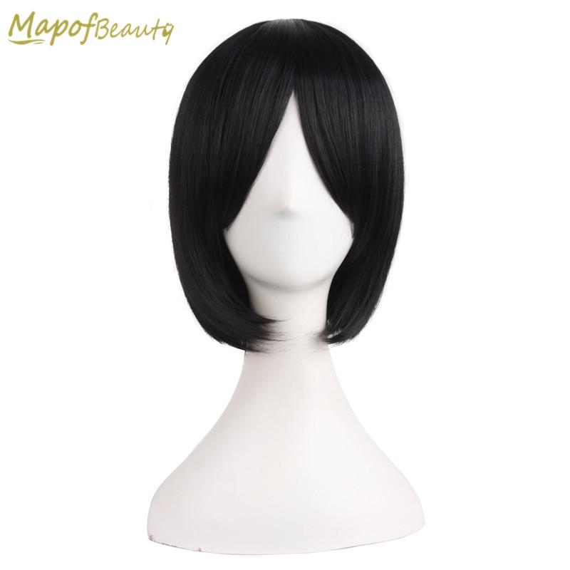 MapofBeauty Short Straight Cosplay Party Wig BOB Wig Dark Brown