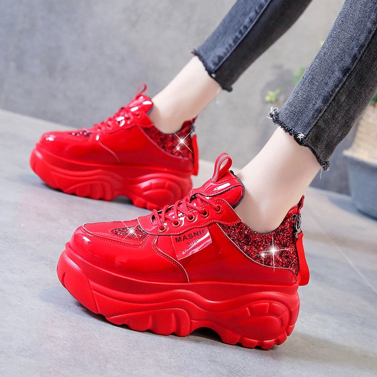 New Women Glitter Sneakers Casual Female Lace Up Zipper Platform Shoes Fashion Comfort Dad Chunky Sneakers White Black Red