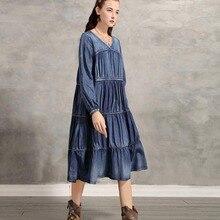 Новинка, модное винтажное женское длинное платье до середины икры с длинным рукавом-фонариком, джинсовое хлопковое M-XL платье трапециевидной формы, свободное платье