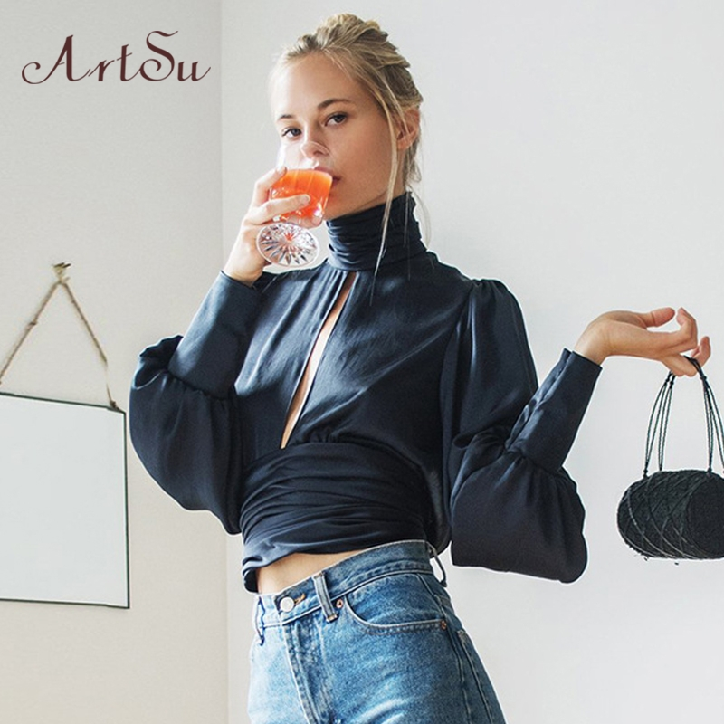 ArtSu Women Sexy Lace Up Bow Satin Blouse Turtleneck Shirt Backless Blouses Blusas Women Puff Sleeve Crop Top Spring ASBL30142 2