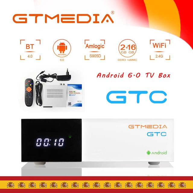 GTmedia GTC Smart Android 6.0 TV BOX 4K Ultra HD 2G 16G Movie WIFI DVB S2/T2/Cable/ISDBT Media Player Set top Box support m3u
