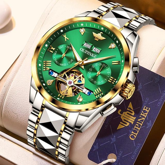 Luxury Men Watches Automatic Mechanical Green Watch Men Tungsten steel Luminous Waterproof Business Sport Wristwatch OUPINKE