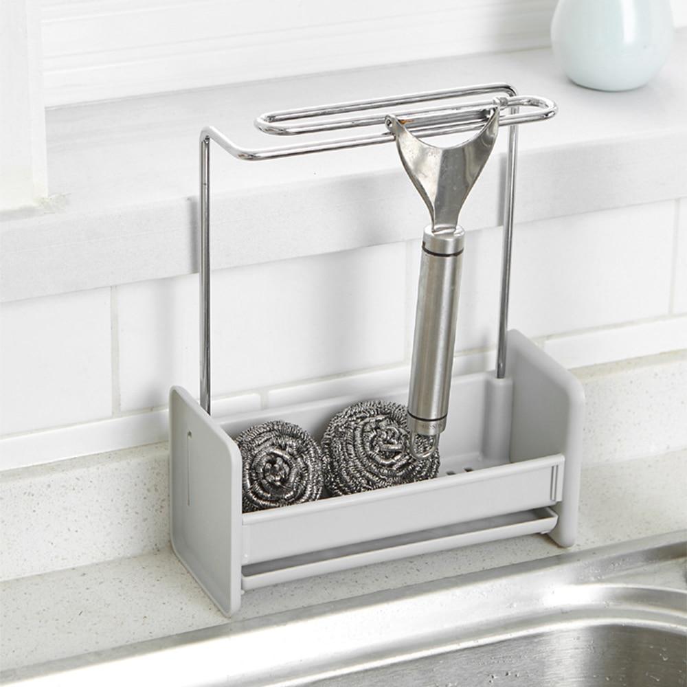 Kitchen Sponge Holder Sink Caddy Cleaning Brush Soap Organizer Rack With Towel Bar Drain Tray Towel Hanging Drying Rack Shelf