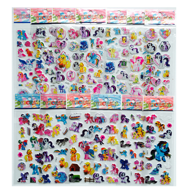 6Pcs/lot Cartoon  Horse Cute Toys  Pretty Sticker 3D Puffy Animal Stickers Mobile Phone Stickers Toys For Kids