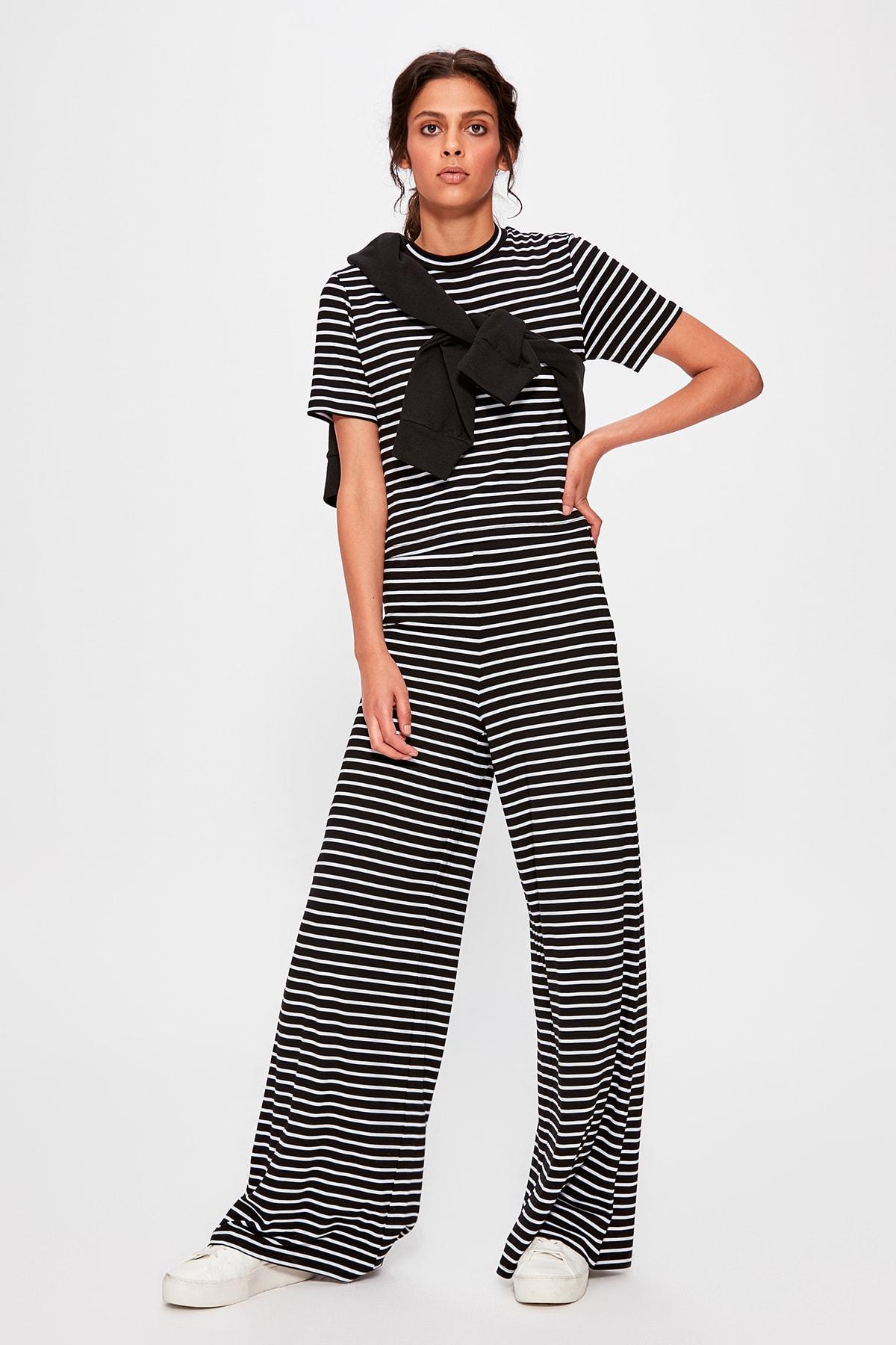 Trendyol Black Striped Knit Pants TWOAW20PL0241