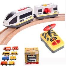 RC pociąg elektryczny zestaw z wózkiem dźwięk i światło ekspresowe ciężarówka FIT drewniany tor elektryczna zabawka dla dzieci zabawki dla dzieci