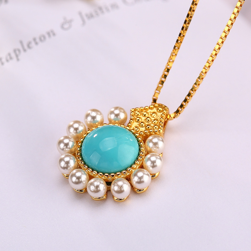 925 sterling silver gold-plated round light blue turquoise natural stone and pearl pendant necklace fine jewelry for women