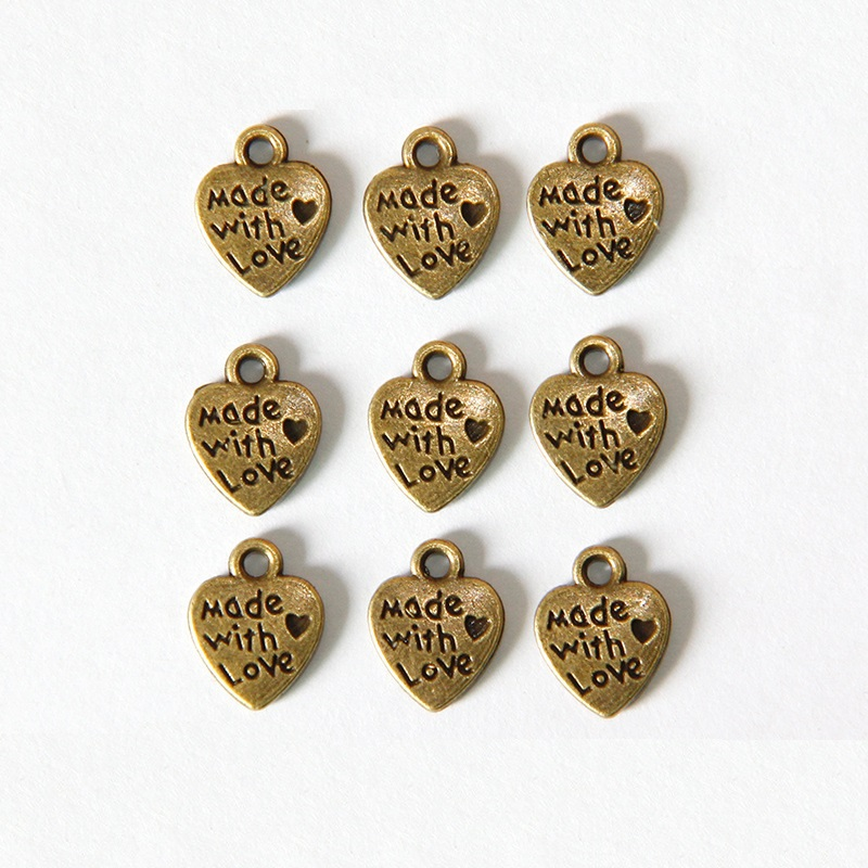 40pcs Vintage Bronze Alloy 13x9mm Heart Rhinestone Pendant Charms DIY Accessory