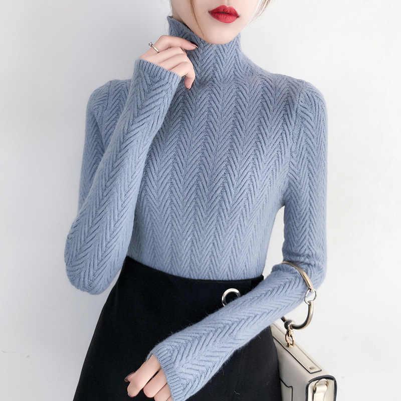 속옷 여자 가을, 겨울 2020 새로운 스웨터 슬림 긴 소매 꽉 니트 하단 셔츠 짙어지면서 정상 여성