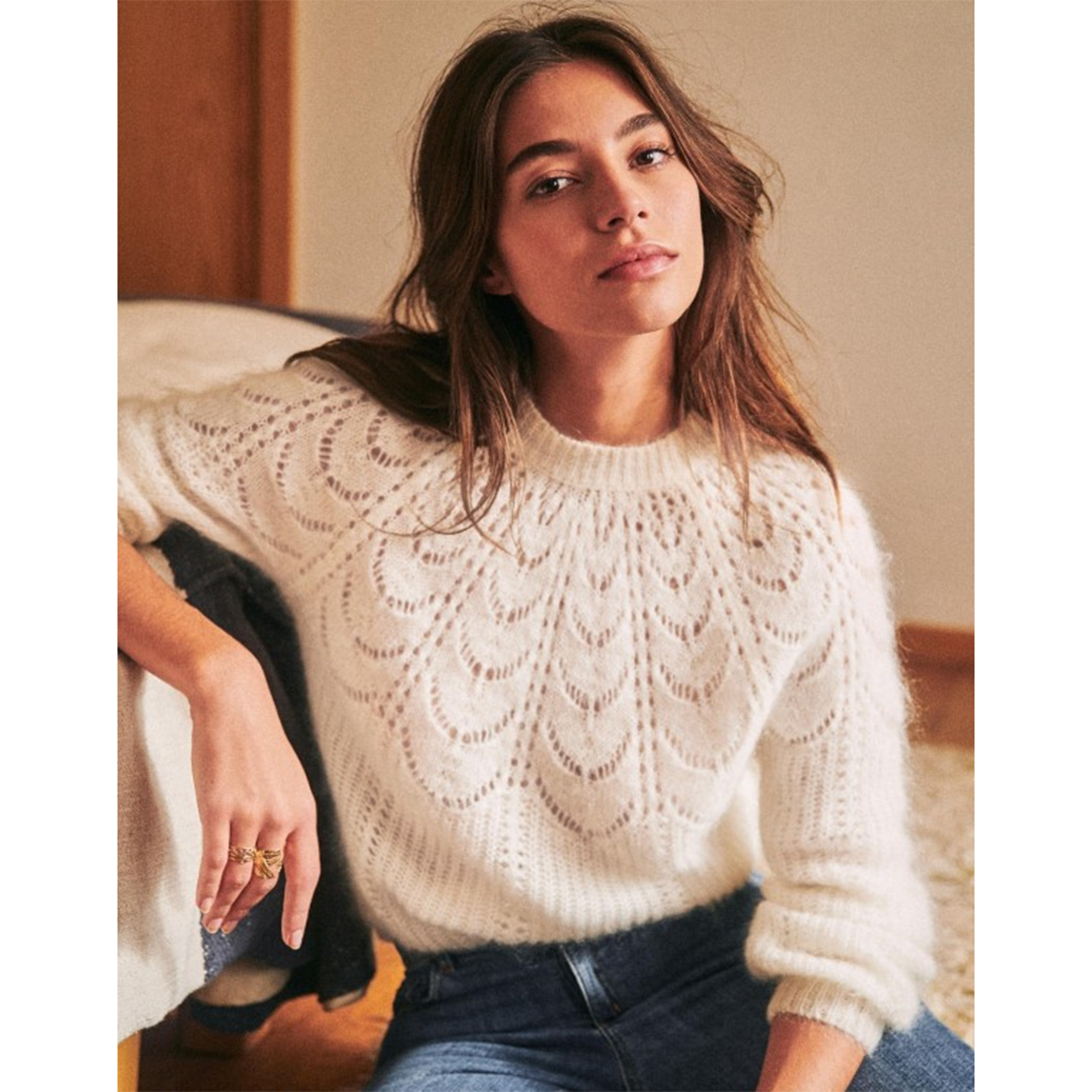 Paulin Knitted Jumper Women Warm Mohair Wool Puffed Sleeve O nenck Chic Sweater 2020 Autumn Winter Vintage Pullover(China)