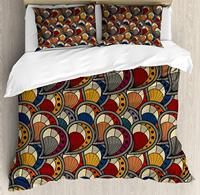 African Duvet Cover Set Paisley Motifs with Geometric Design Dots and Lines Teardrop Shape with Curved Tip Decorative 3 Piece