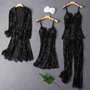 Lady Pajamas Suit 4PCS Nighty&Robe Set Sexy Velvet Sleepwear Intimate Lingerie 2020 Autumn New Kimono Gown Homewear Nightgown