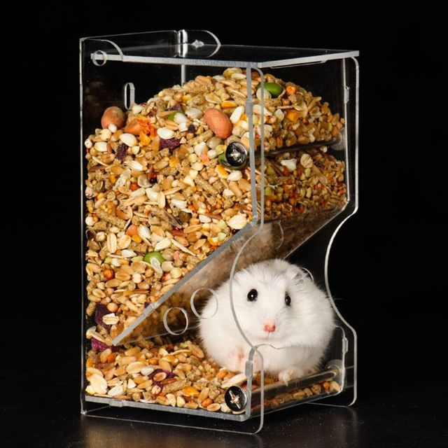 New Automatic Hamster Feeder Acrylic Food Feeding Dispenser for Guinea Pig Gerbil Pigeon