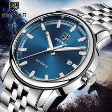 새로운 남성 시계 Benyar 패션 자동 기계 손목 시계 망 방수 스포츠 시계 스틸 시계 남자 Relogio Masculino