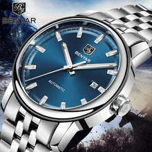 Nowe męskie zegarki Benyar moda automatyczne mechaniczne zegarki na rękę mężczyzna wodoodporny zegarek sportowy zegarek ze stali mężczyźni Relogio Masculino