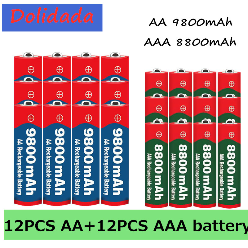 2020 новинка 1,5 в AA 9800 мАч + 1,5 в AAA 8800 мАч Щелочная аккумуляторная батарея в для часов игрушек Аккумулятор для камеры