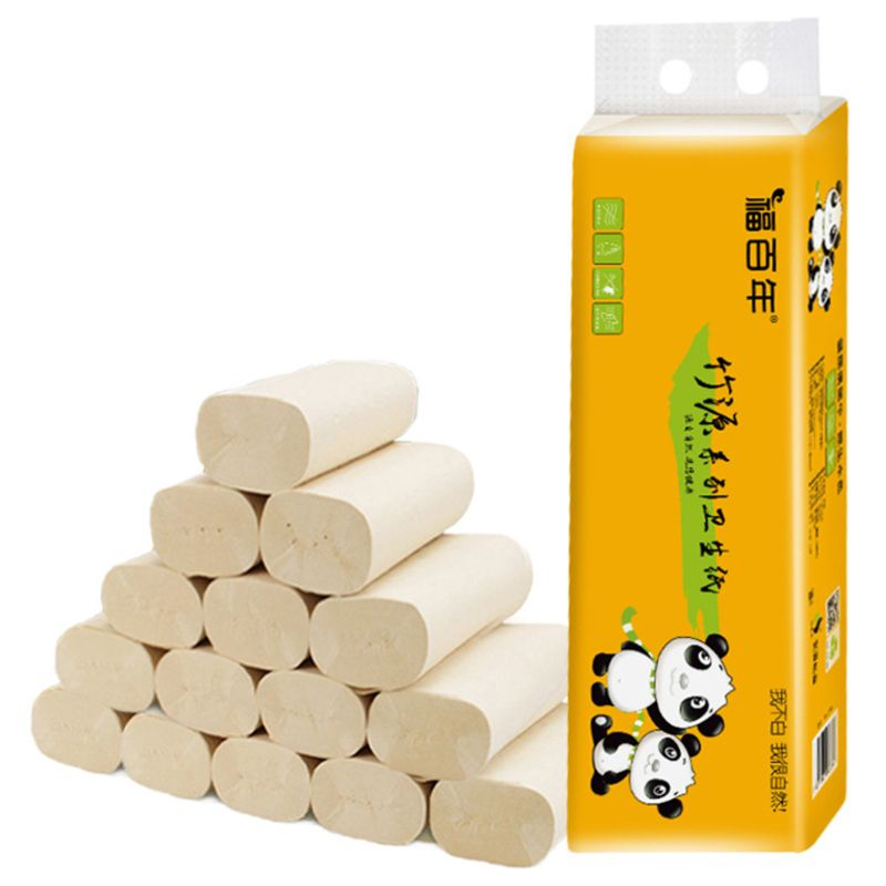 12 Rolls Bamboo Pulp Toilet Paper Towels 4-Ply Thicken Biodegradable Bath Tissue