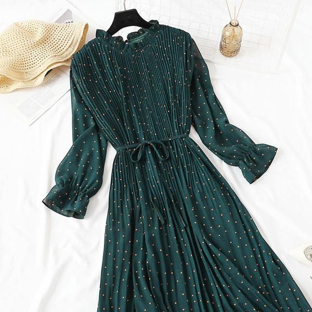 Lovely crinkle dress, long length, cuffed sleeve dress 5