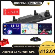 OBDPEAK D80 Android 8.1 Full HD 1080P 12 Cal dotykowy IPS wideorejestrator samochodowy z GPS nawigacja WIFI Bluetooth ADAS Google Play kamera na deskę rozdzielczą
