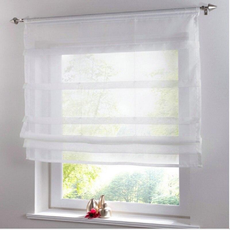 Cortinas de cozinha voile curto sólido sheer cortina tule painel triagem para quartos tratamento janelas roman cortina