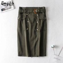 2019 Fashion New Spring Autumn skirt vintage england style high waist double breasted army green sashes long skirts womens