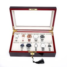 2019 New 2/3/5/6/10/12 Slots Watch Box Storage With Red Black Wooden Glass Case Bracelet Display Casket Watches Holder